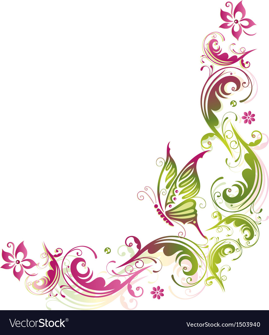 Green pink summer flower vector | Price: 1 Credit (USD $1)