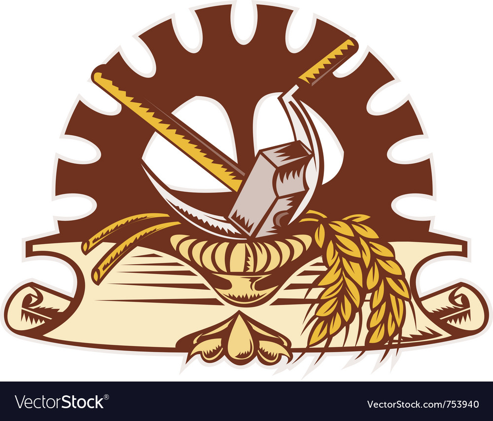 Hammer sickle wheat cog gear vector | Price: 1 Credit (USD $1)