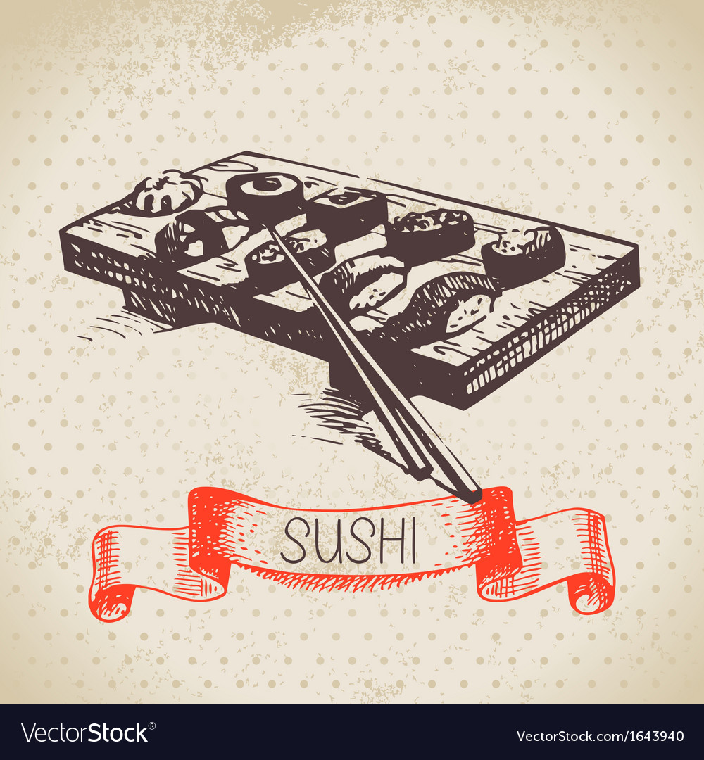 Hand drawn vintage sushi background vector | Price: 1 Credit (USD $1)