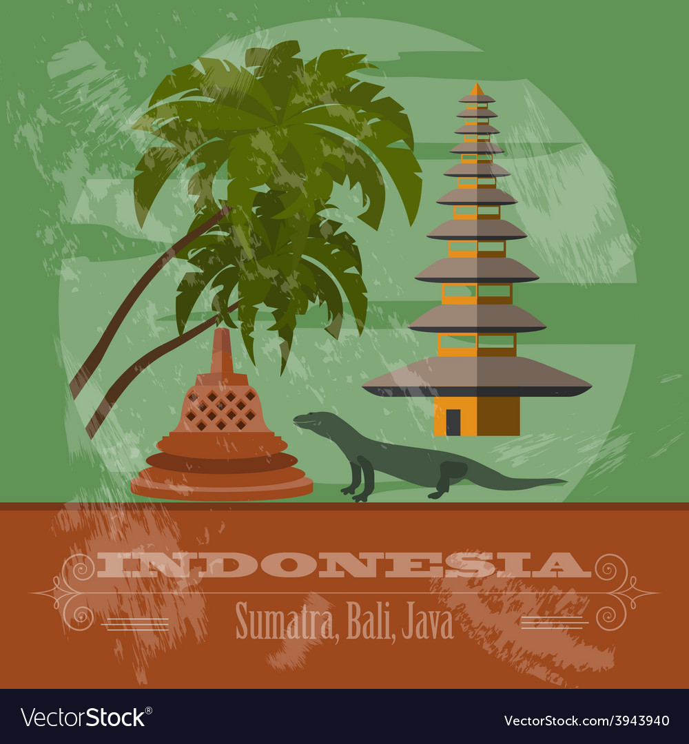 Indonesia landmarks retro styled image vector | Price: 1 Credit (USD $1)