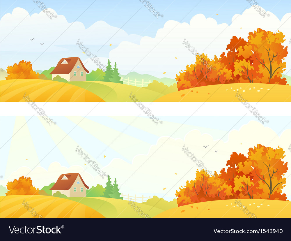 Rural autumn banners vector | Price: 1 Credit (USD $1)