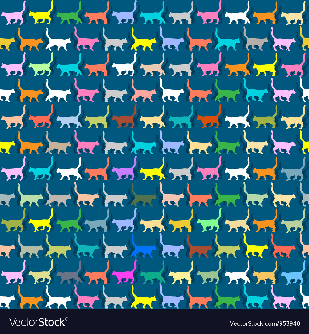 Seamless wallpaper with colorful silhouettes cats vector | Price: 1 Credit (USD $1)