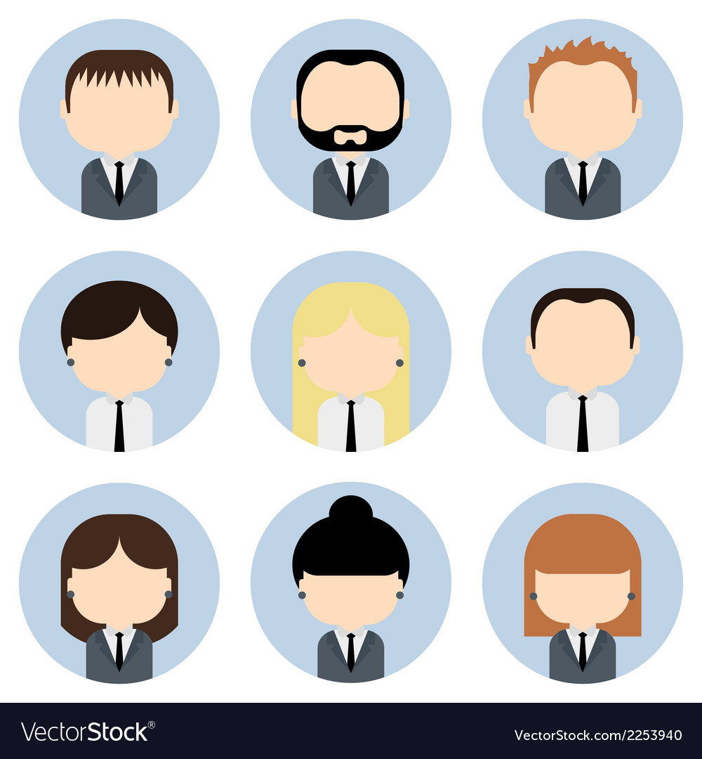 Set of colorful office businessman people icons vector | Price: 1 Credit (USD $1)