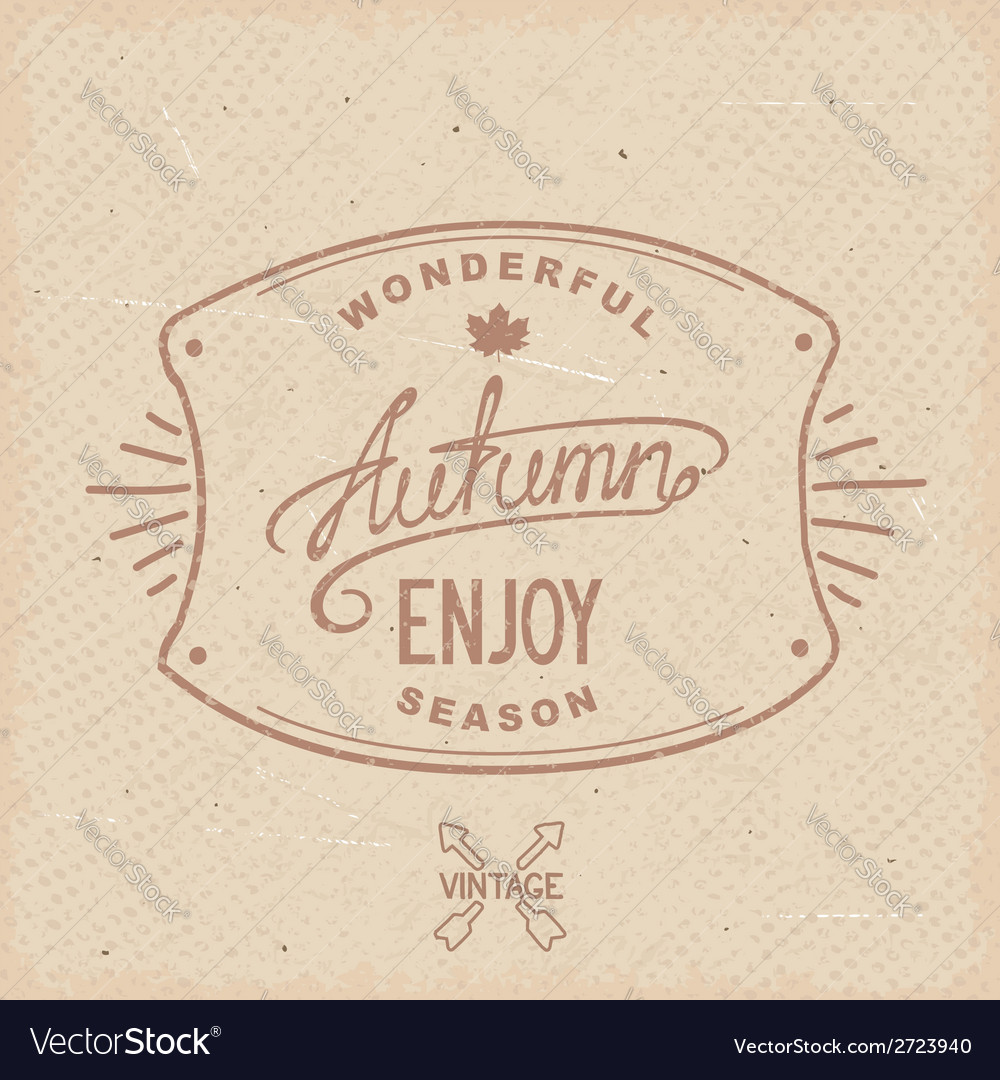 Vintage hipster autumn label vector   Price: 1 Credit (USD $1)
