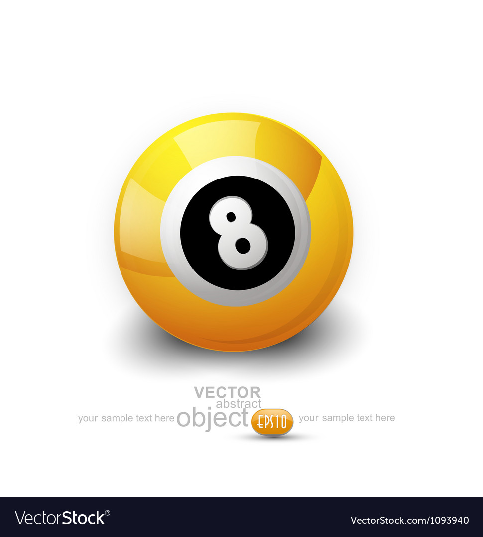 Yellow ball with the number 8 on a white backgroun vector | Price: 1 Credit (USD $1)