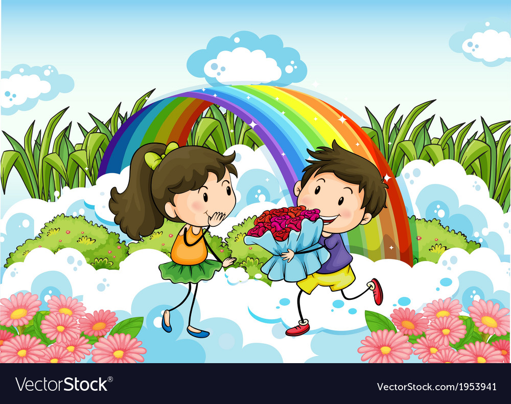 A couple dating near the rainbow vector | Price: 3 Credit (USD $3)