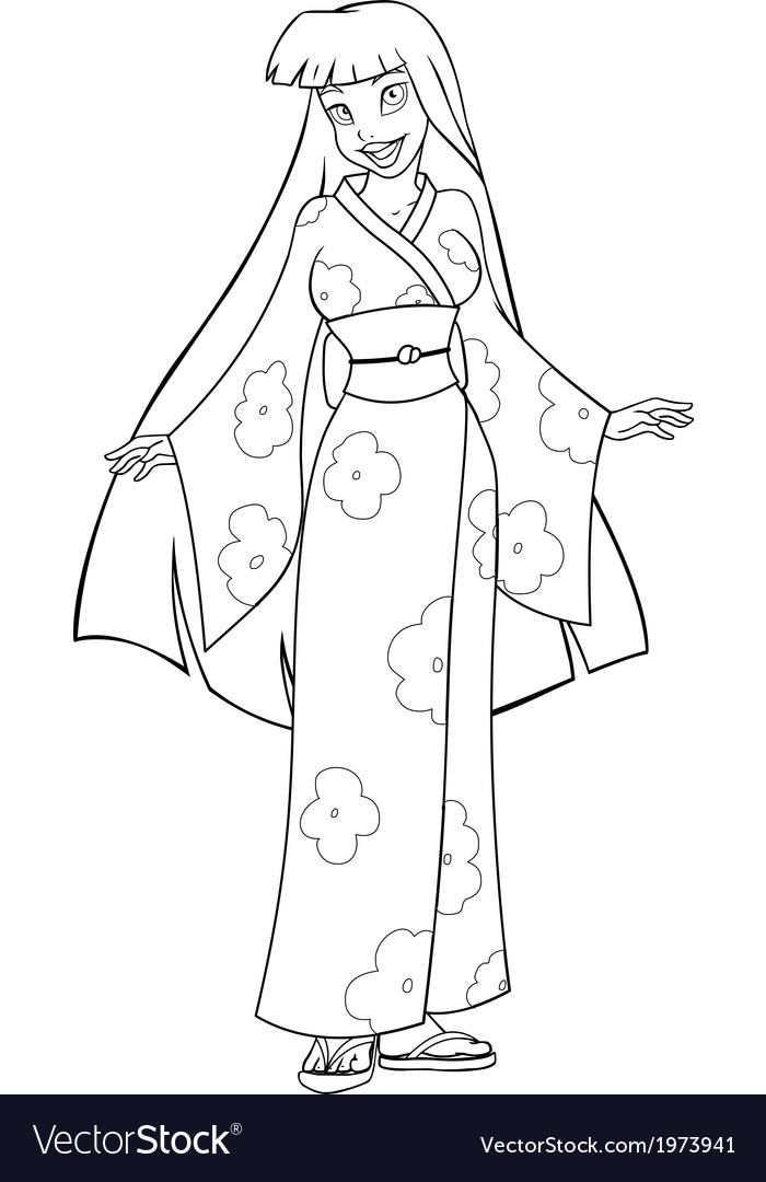 Asian woman in kimono coloring page vector | Price: 1 Credit (USD $1)