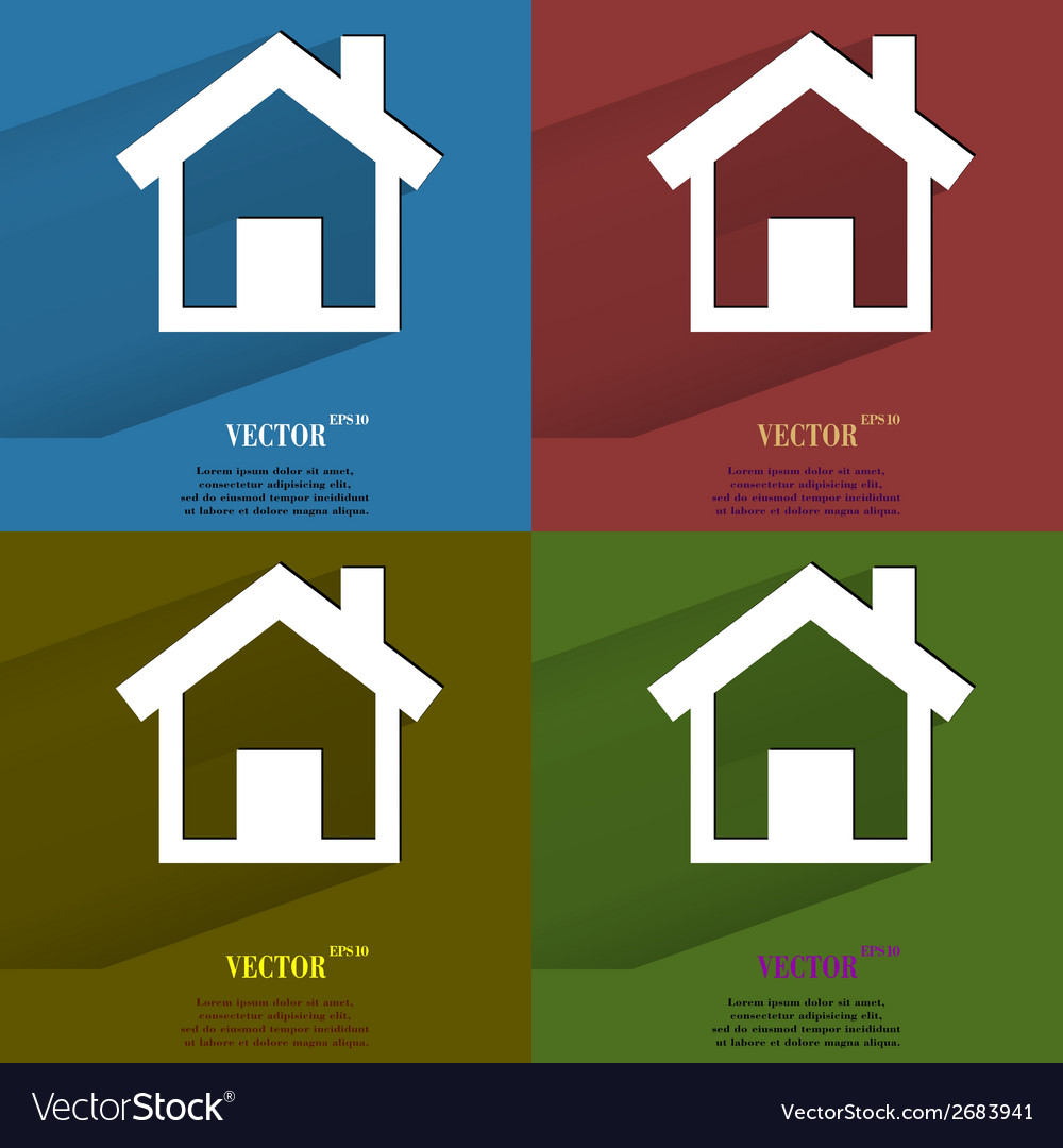 Color set house flat modern web button with long vector | Price: 1 Credit (USD $1)