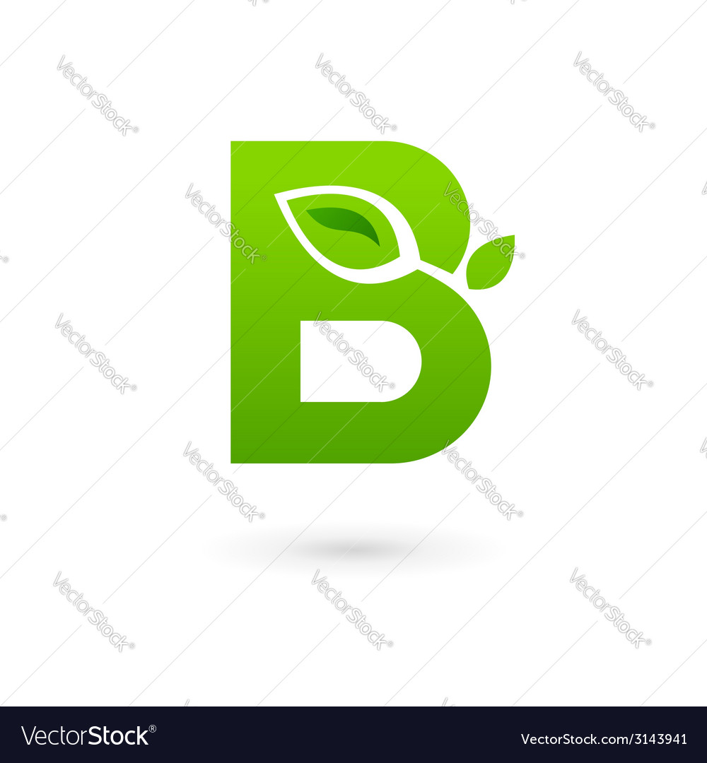 Letter b eco leaves logo icon design template vector | Price: 1 Credit (USD $1)