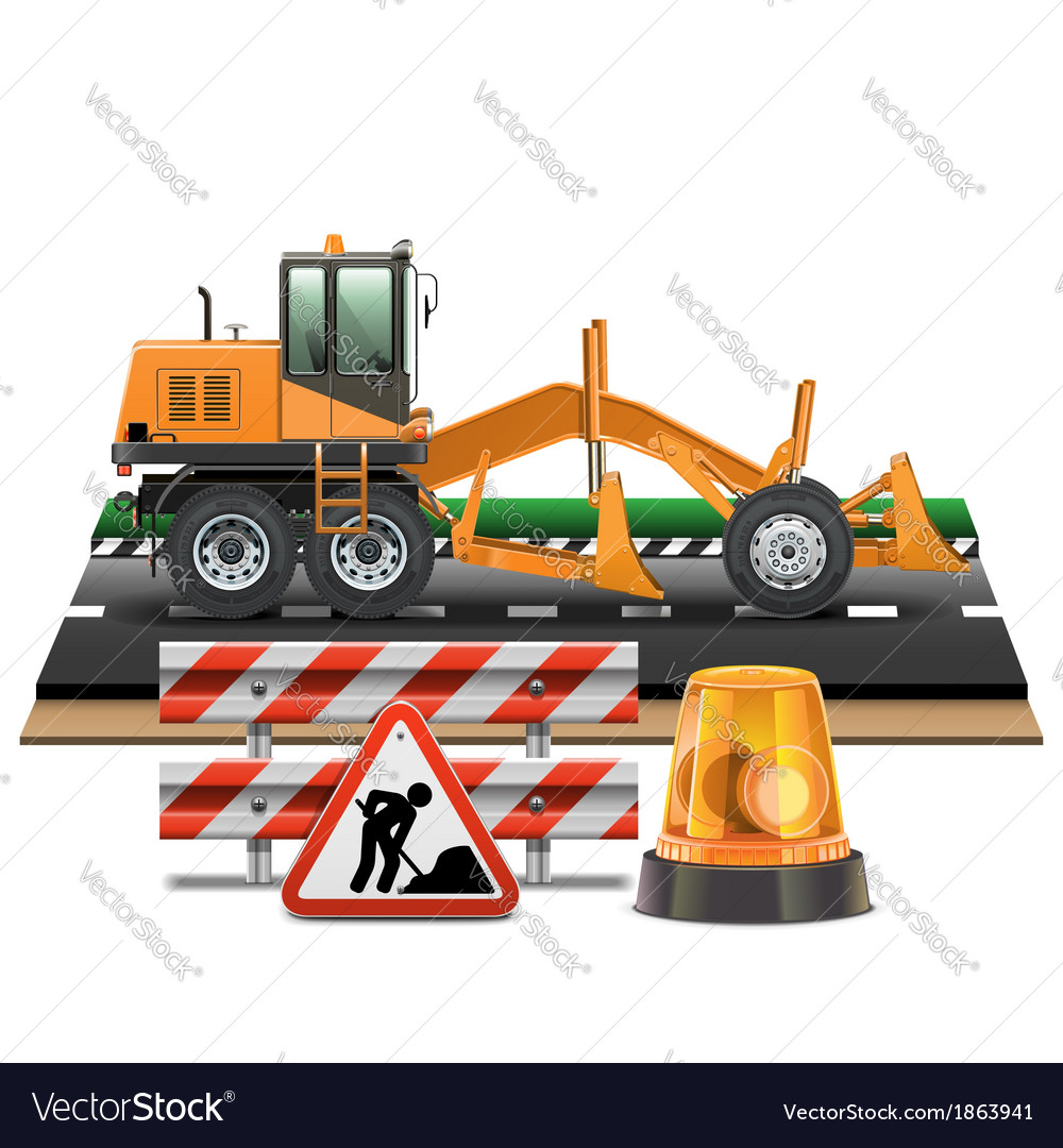 Road construction with grader vector | Price: 3 Credit (USD $3)