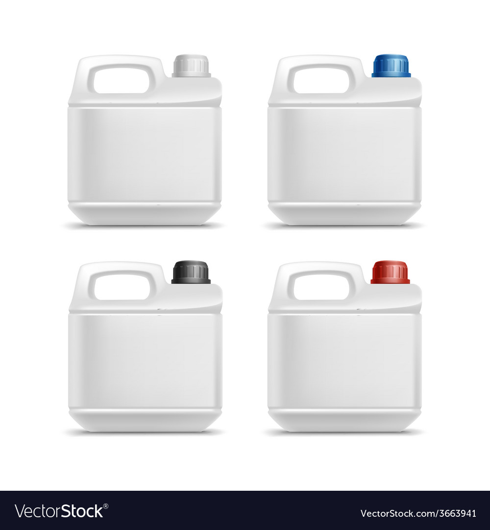 Set of blank plastic jerrycan canister gallon oil vector