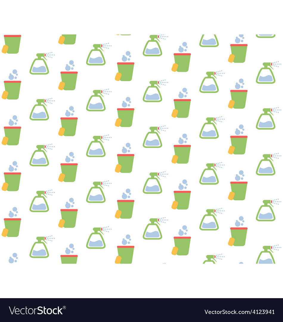 Spring seamless pattern with cleaning tools vector   Price: 1 Credit (USD $1)