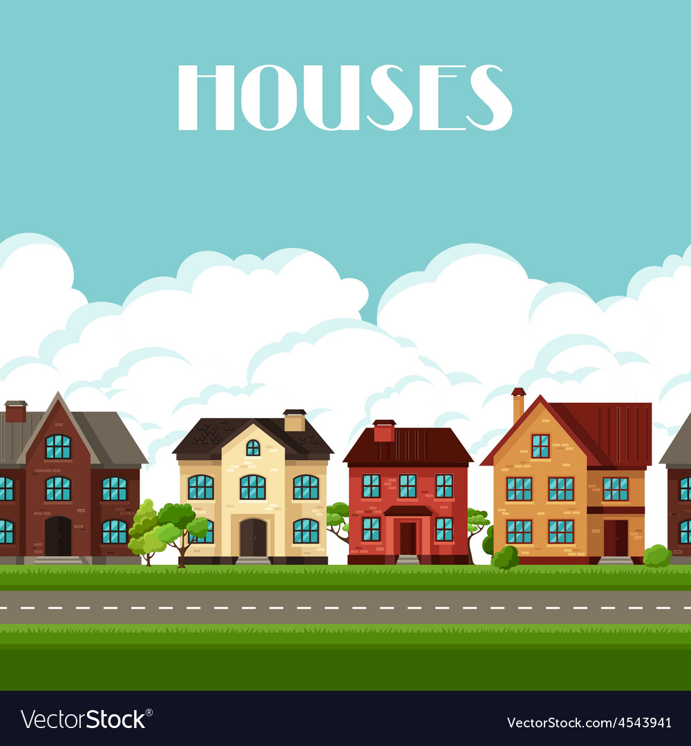 Town seamless border with cottages and houses vector | Price: 1 Credit (USD $1)
