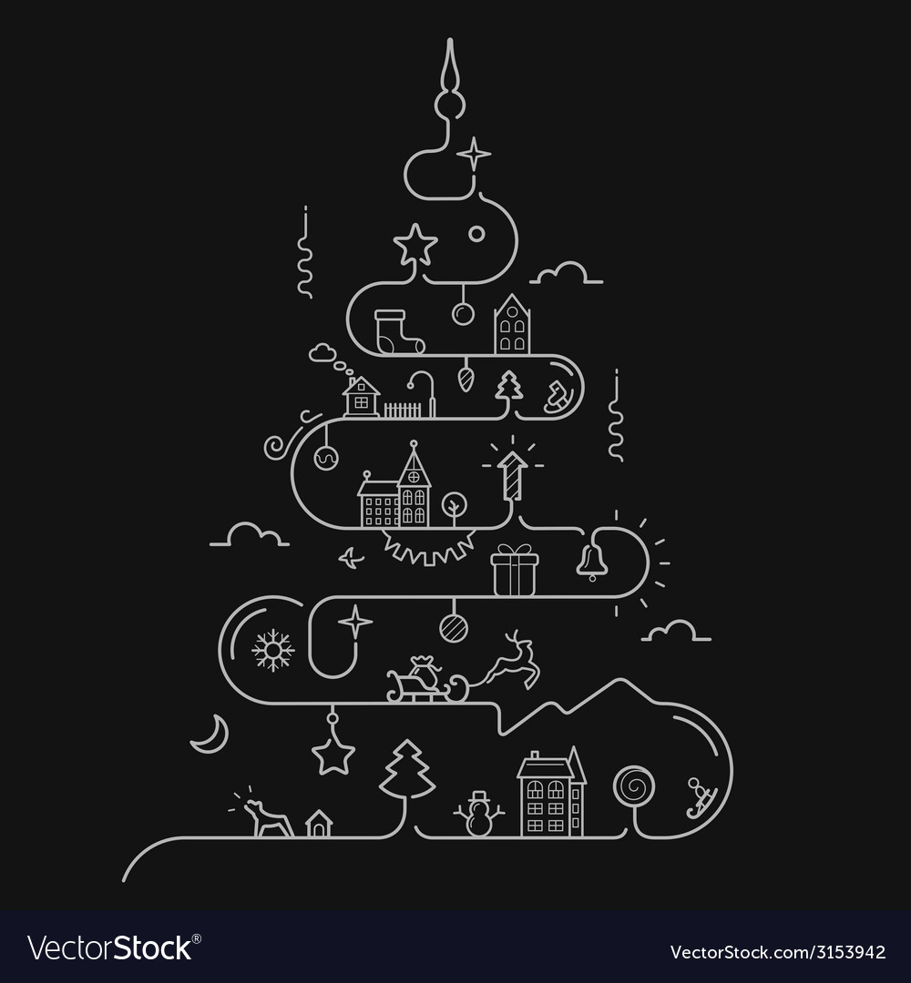 Abstract christmas tree in line style vector | Price: 1 Credit (USD $1)