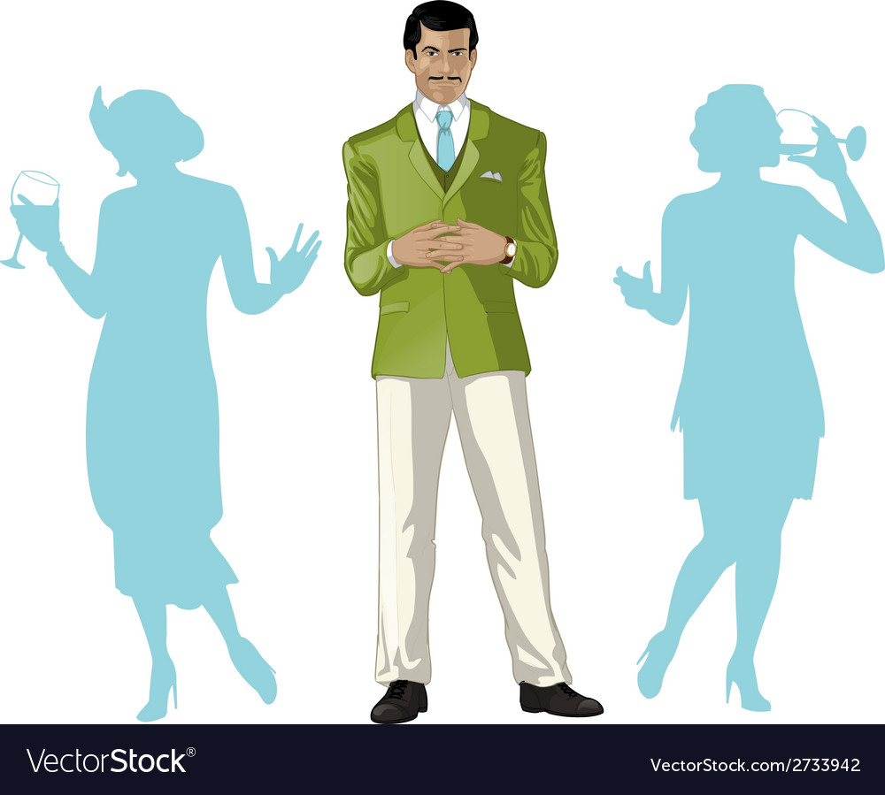 Asian male party host with female guests vector | Price: 1 Credit (USD $1)