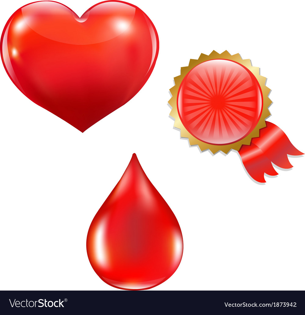 Collection with blood drop and heart vector | Price: 1 Credit (USD $1)