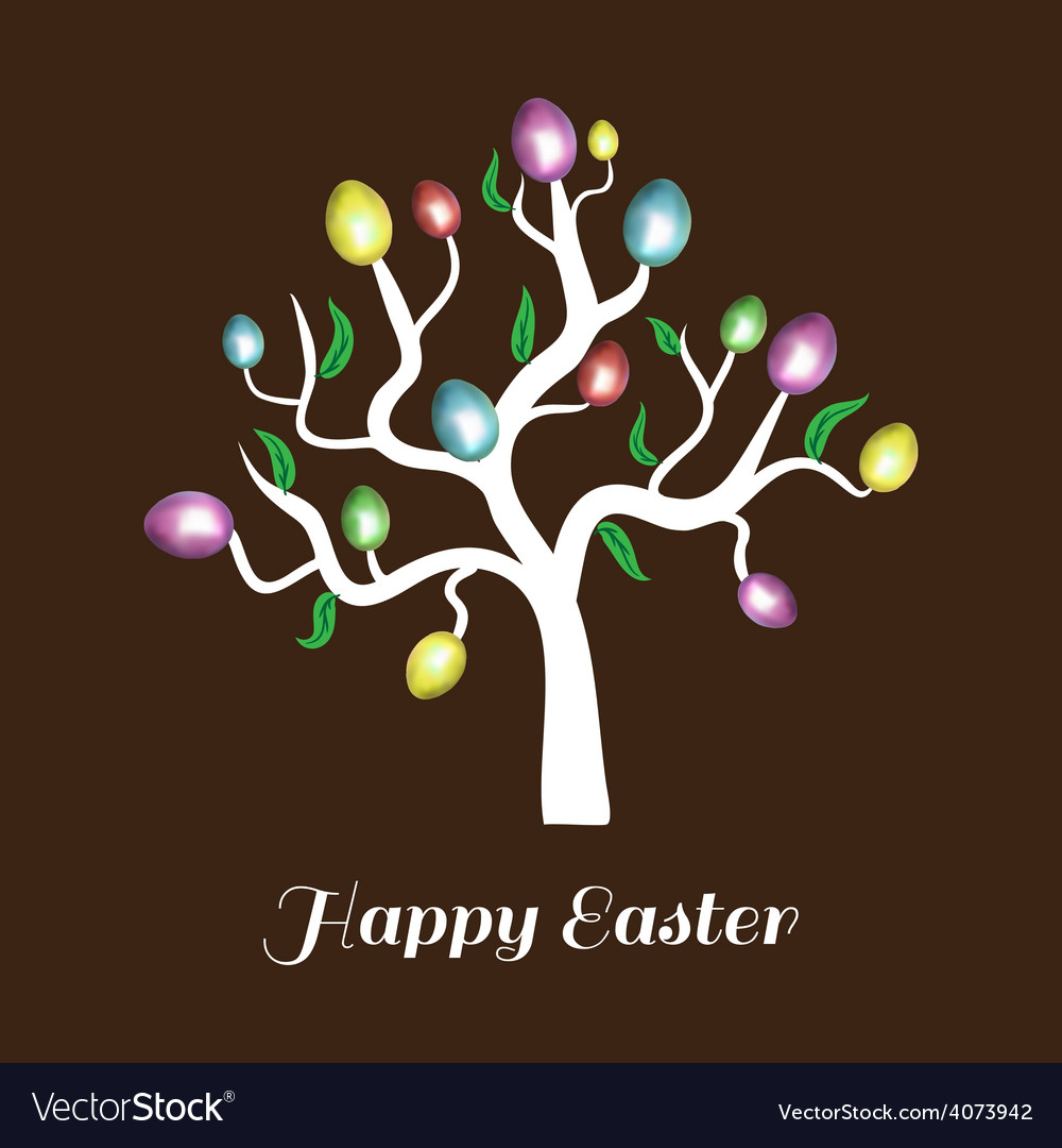 Easter tree white holiday card vector | Price: 1 Credit (USD $1)