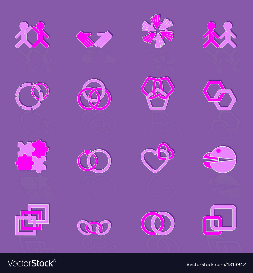 Link and relationship color icons vector | Price: 1 Credit (USD $1)