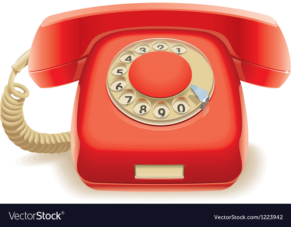 Old red phone vector | Price: 3 Credit (USD $3)
