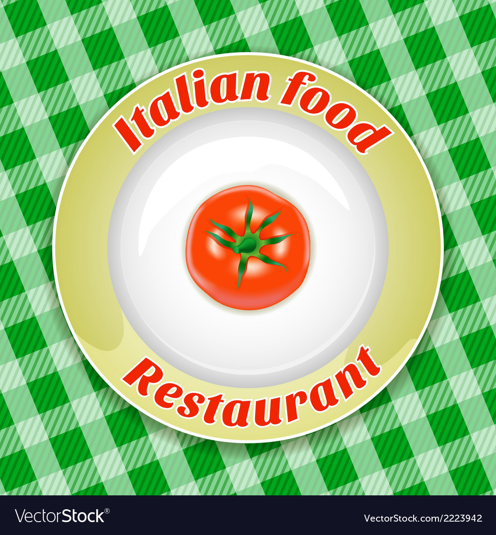 Plate with title and tomato vector | Price: 1 Credit (USD $1)
