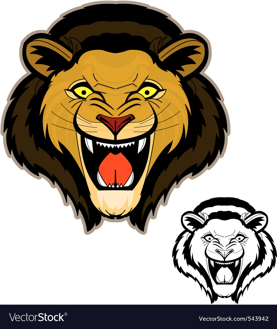 Roaring lion head mascot vector | Price: 1 Credit (USD $1)