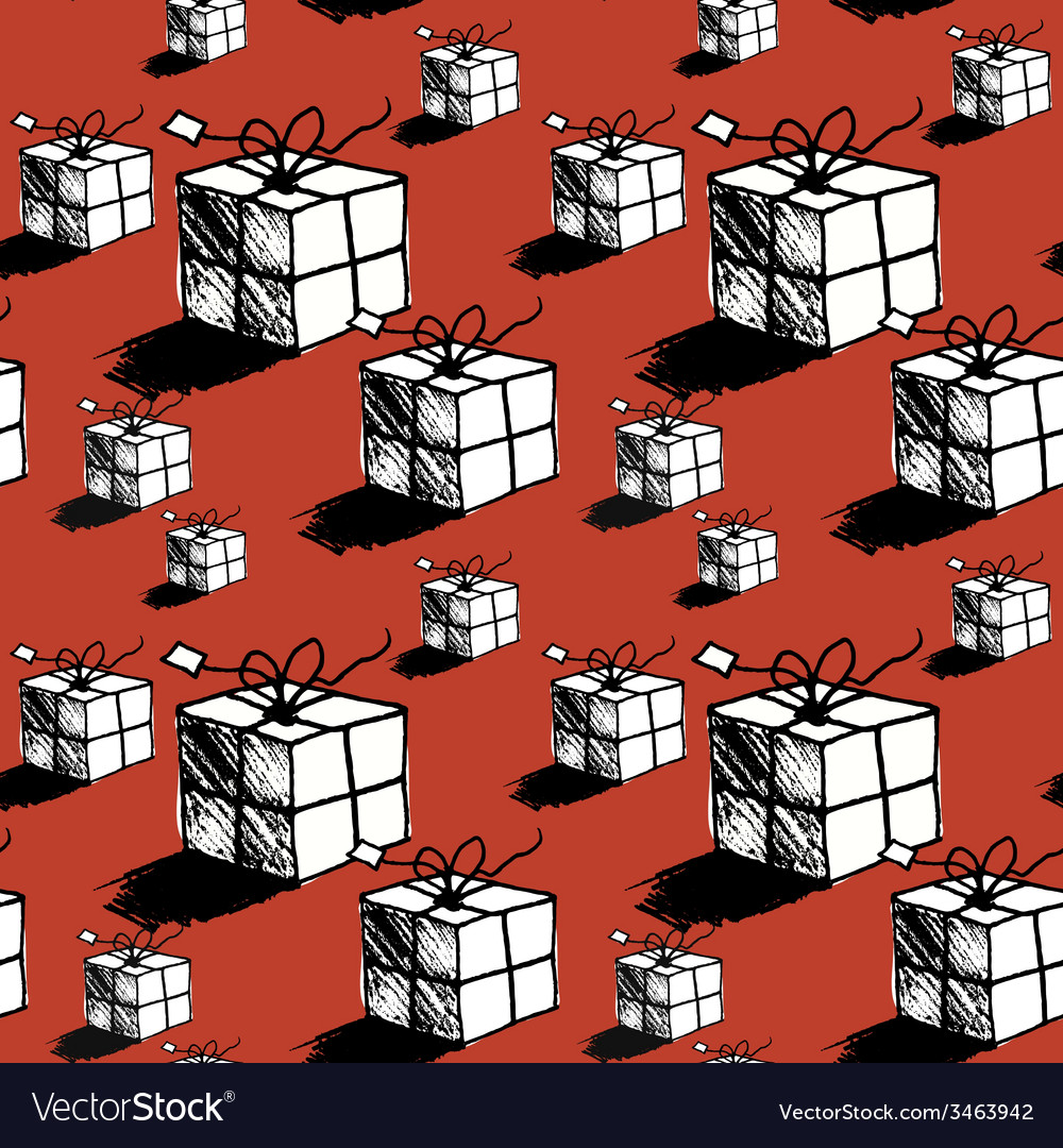 Seamless christmas gift box pattern doodle style vector | Price: 1 Credit (USD $1)