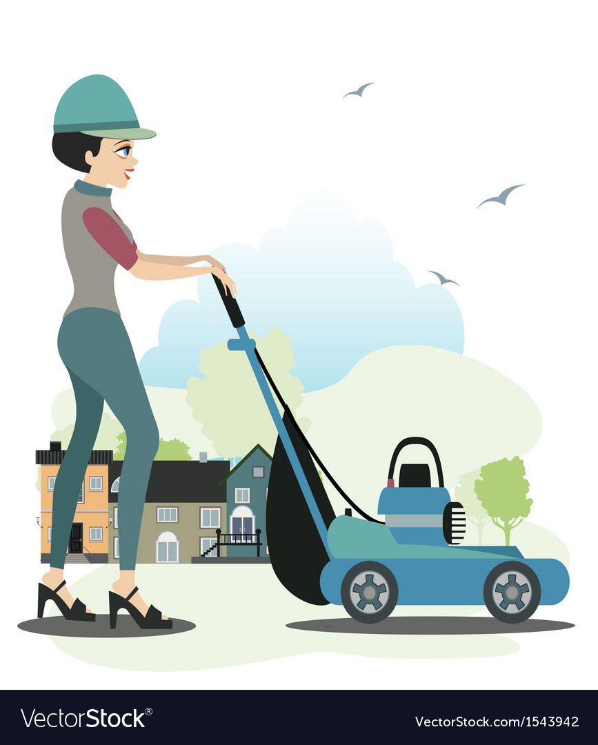 Women use the mower vector | Price: 1 Credit (USD $1)