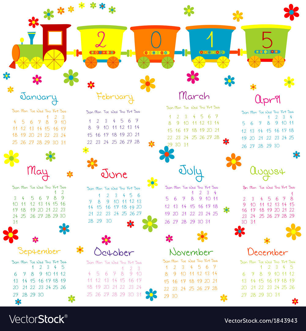 2015 calendar with toy train and flowers vector | Price: 1 Credit (USD $1)