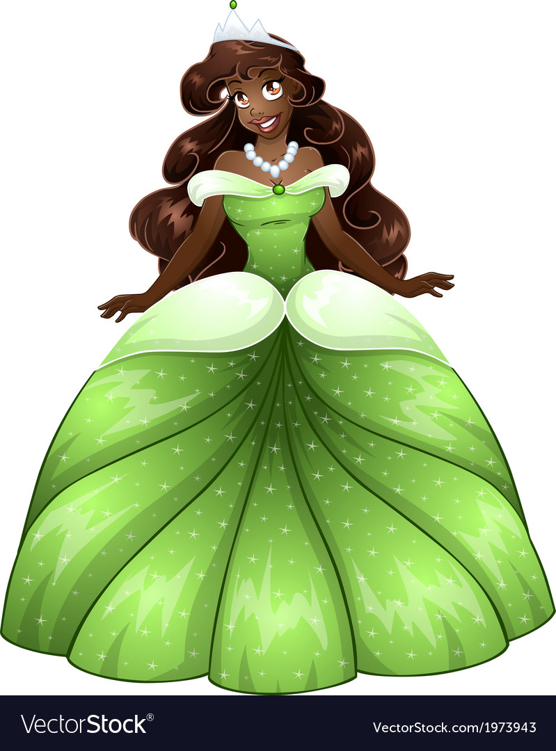 African princess in green dress vector   Price: 1 Credit (USD $1)