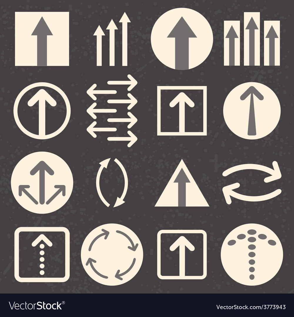 Arrow sign icon set on black background vector | Price: 1 Credit (USD $1)