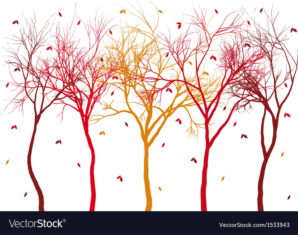 Autumn trees with falling leaves vector | Price: 1 Credit (USD $1)
