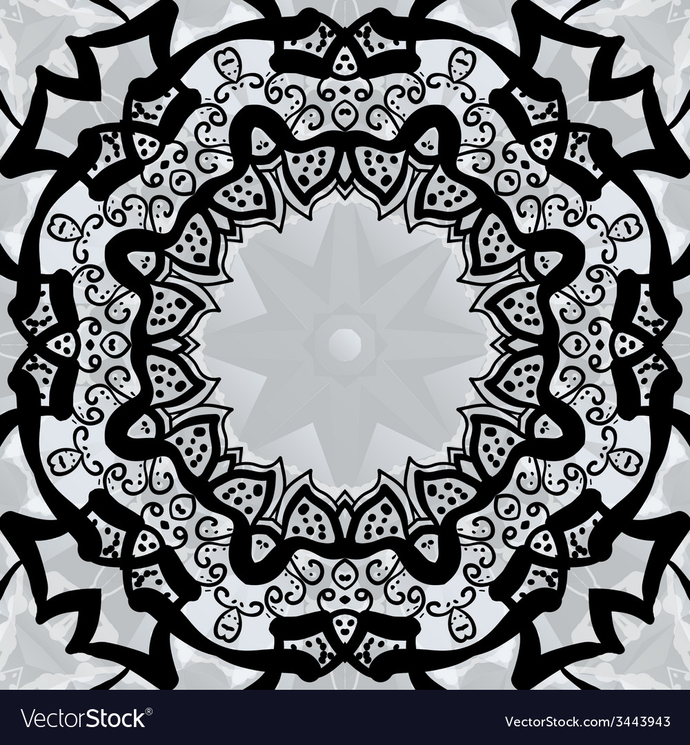Black stylized frame over symmetry gray wallpaper vector | Price: 1 Credit (USD $1)