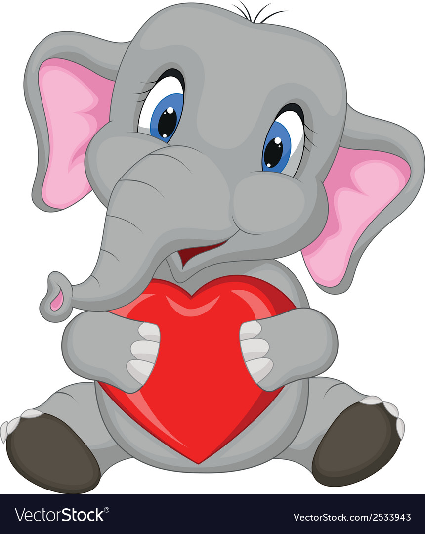 Cute elephant cartoon holding red heart vector | Price: 1 Credit (USD $1)