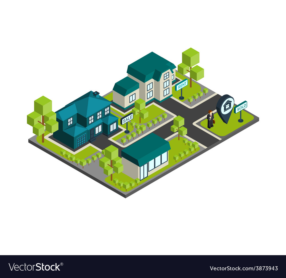 Isometric town concept vector | Price: 1 Credit (USD $1)