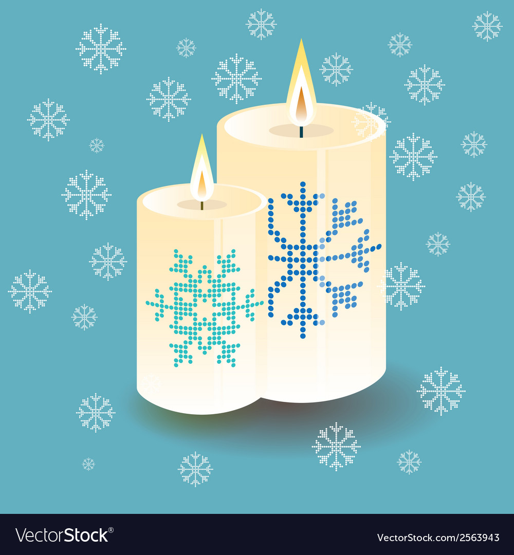 Lighting round thick candle with snowflake vector | Price: 1 Credit (USD $1)