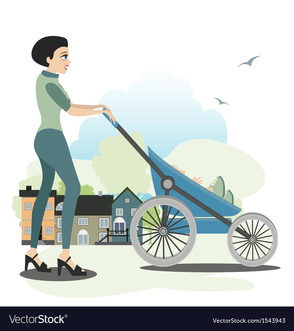 Mother trolleys children vector | Price: 1 Credit (USD $1)