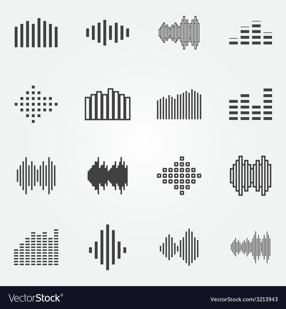 Music soundwave or equalizer icons set vector | Price: 1 Credit (USD $1)