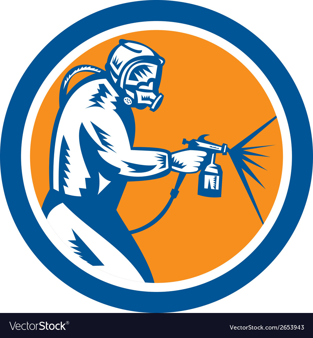 Spray paint gun painter spraying woodcut retro vector   Price: 1 Credit (USD $1)