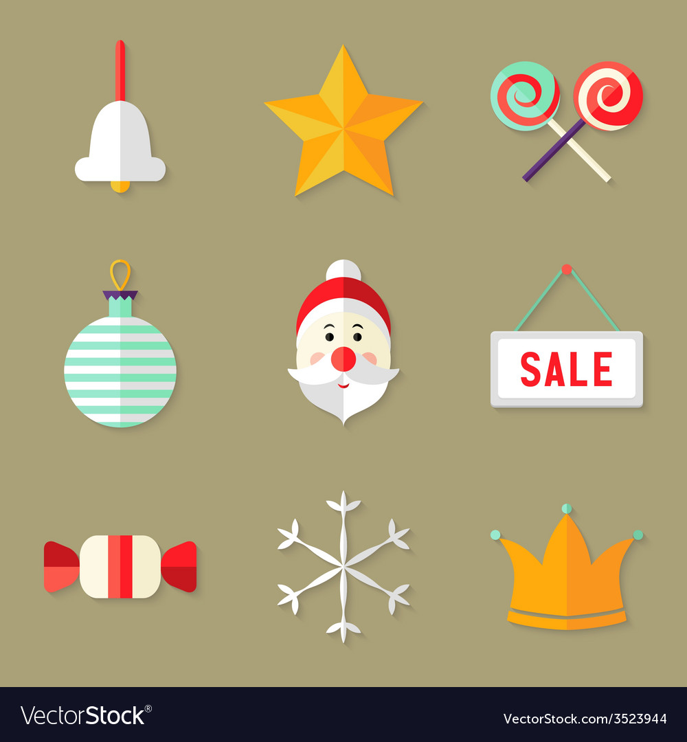9 christmas icons set 1 vector | Price: 1 Credit (USD $1)