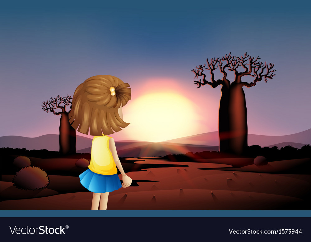 A young girl watching the sunset at the desert vector | Price: 3 Credit (USD $3)
