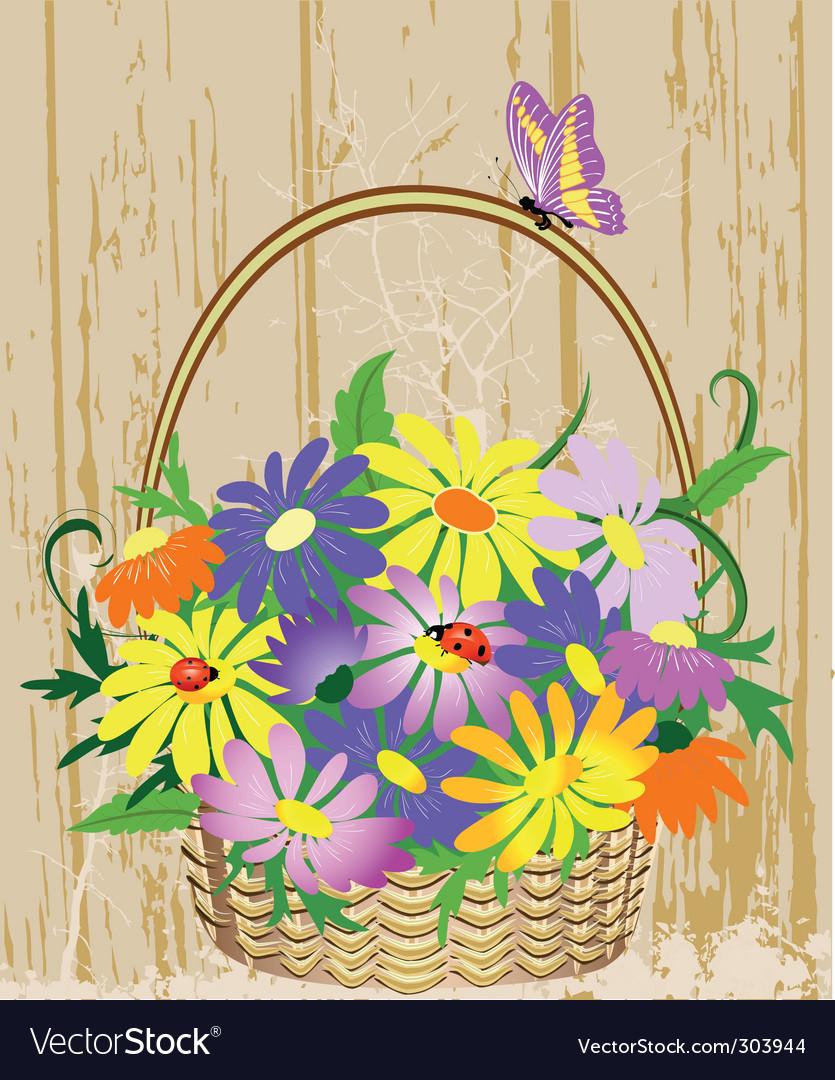 Basket of flowers vector | Price: 1 Credit (USD $1)