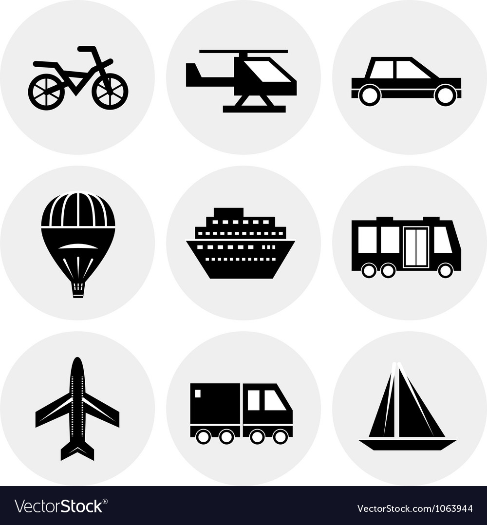 Black transportation icons vector | Price: 1 Credit (USD $1)
