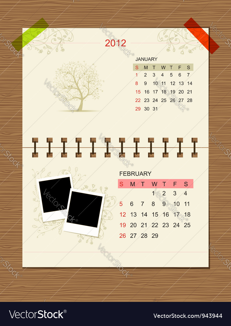 Calendar2012 february vector | Price: 1 Credit (USD $1)