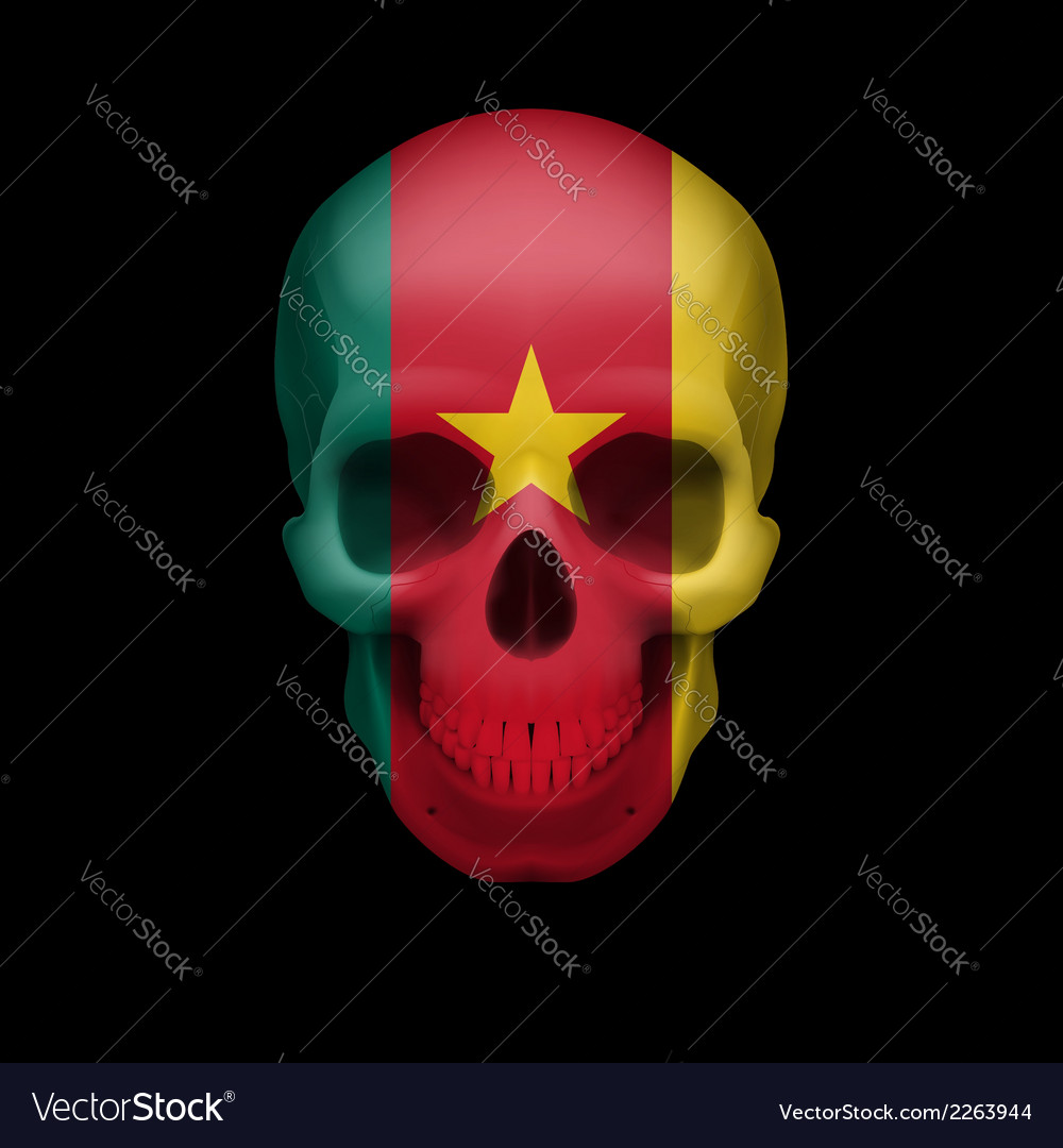 Cameroonian flag skull vector | Price: 1 Credit (USD $1)