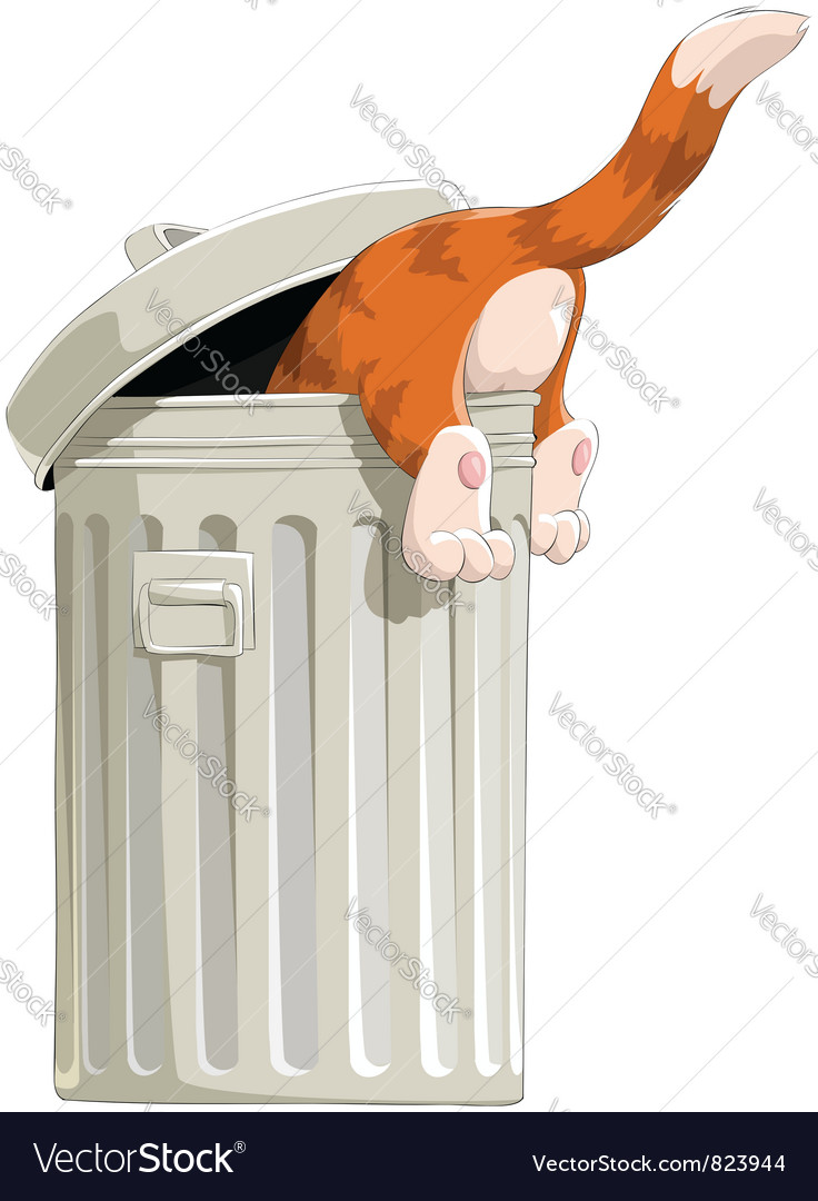 Cat in trash vector | Price: 3 Credit (USD $3)
