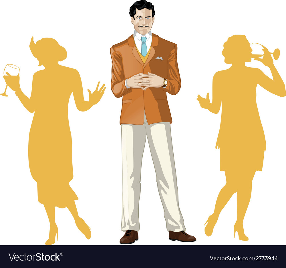 Caucasian male party host with female guests vector | Price: 1 Credit (USD $1)