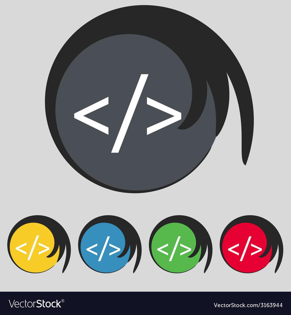 Code sign icon programming language symbol set of vector | Price: 1 Credit (USD $1)