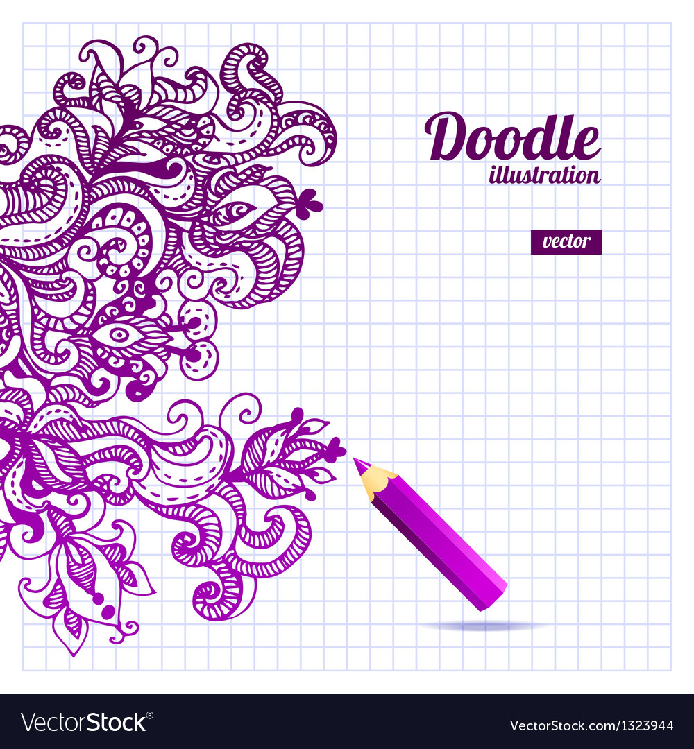 Doodle floral design vector | Price: 1 Credit (USD $1)