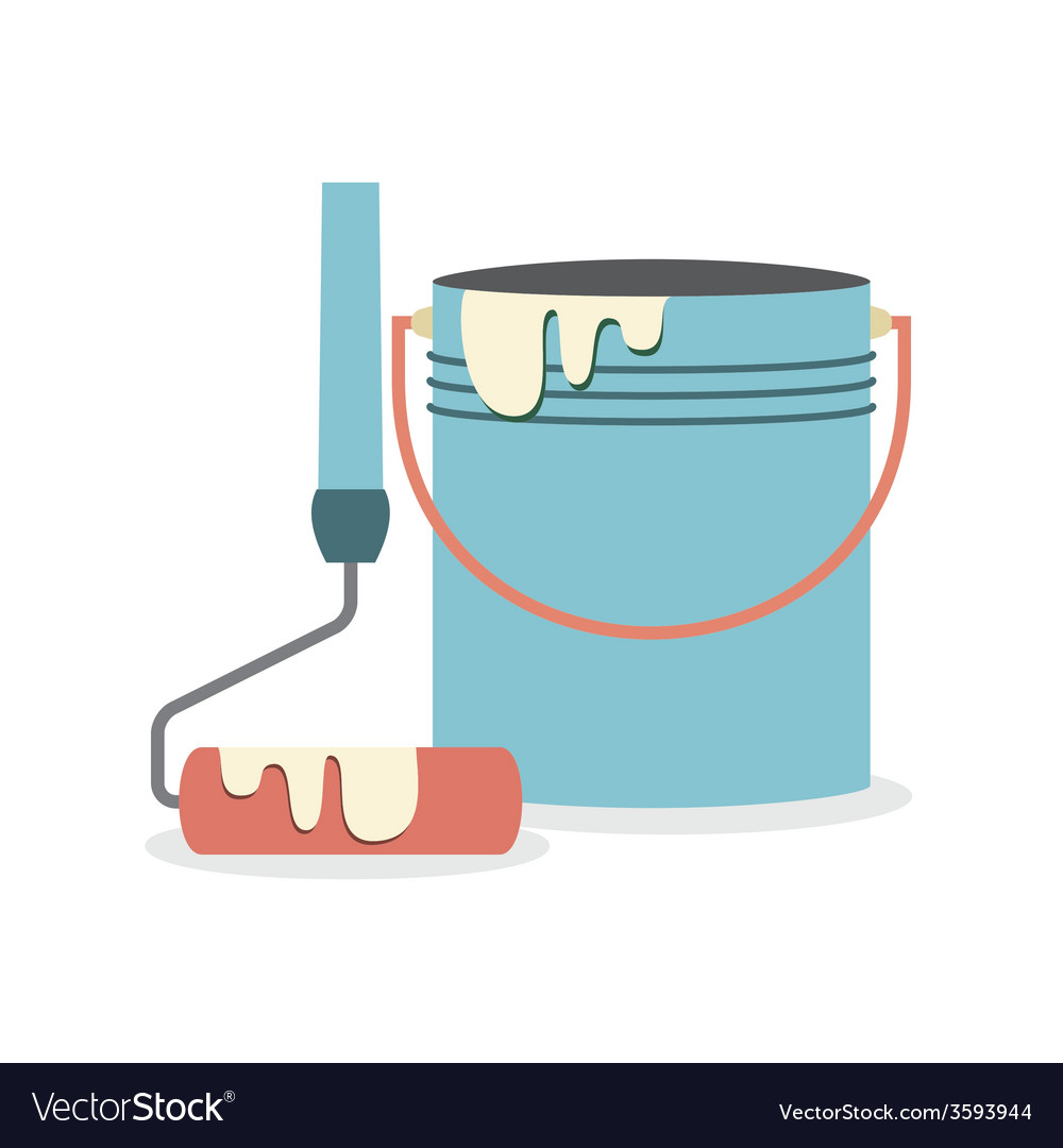 Flat design paint bucket with roller vector | Price: 1 Credit (USD $1)