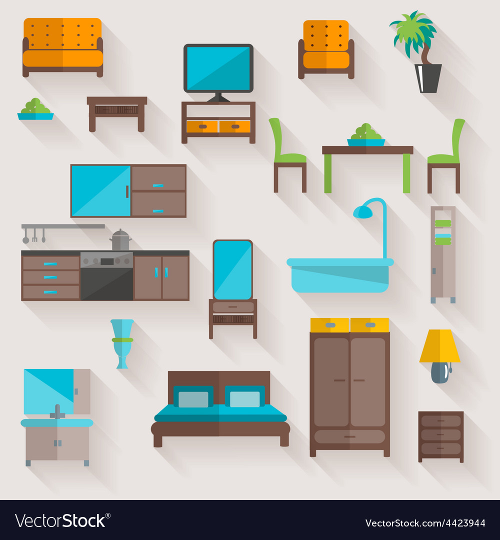 Furniture home flat icons set vector | Price: 1 Credit (USD $1)